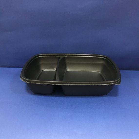 75 Plateaux Noirs 2 compts en plastiques 700mls avec Couvercles Transparents