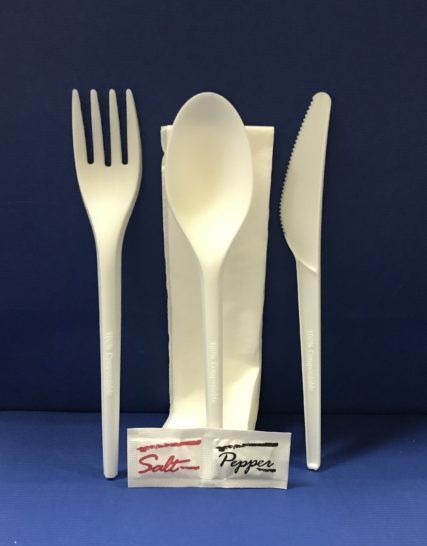 25 Sachet Couverts 6 Pièces Fourchettes+Couteaux+Cuillere+Serviétte+Sel+Poivre Bio en PLA 17 cm 7.5€