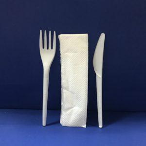 25 Sachet Couverts 3 Pièces Fourchettes+Couteaux+Serviétte Bio en PLA 17 cm 6€