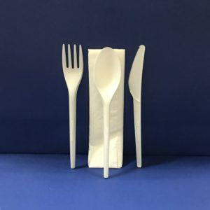 25 Sachet Couverts 4 Pièces Fourchettes+Couteaux+Cuillere+Serviétte Bio en PLA 17 cm 7€