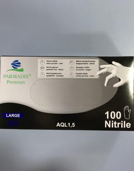 Gants Nitrile Noirs Non-Poudree Taille 8-9/Large 100 Gants