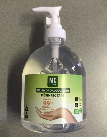 Gel Mains Hydroalcoolique 75 % d'Alcool MC LAB 500 mls avec Pompe